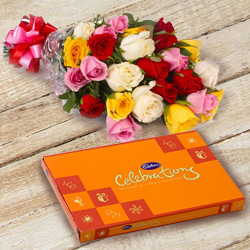 Beautiful Anniversary Combo of Mixed Roses with Cadbury Celebration to Tirunelveli