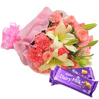 Eye-Catching Mixed Flowers Bunch with Cadbury Chocolate for Anniversary to Amlapuram