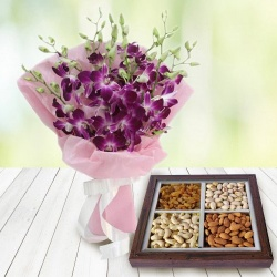 Orchids Bouquet and 500 gms Dry Fruits to New Delhi