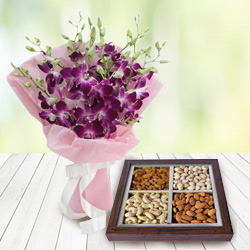 Stunning Combo of Orchids Bouquet and Dry Fruits to Allahabad