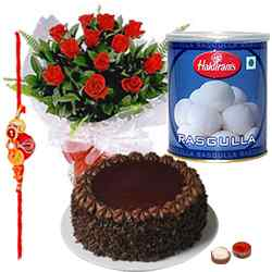 Sweet Rasgulla, yummy cake, red roses with Free Rakhi, Roli Tika, Chawal to Alwar