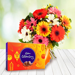 Anniversary Styled Bouquet of Mixed Gerbera with Cadbury Celebration Chocolates to Amlapuram