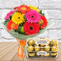 Exciting Anniversary Gift of Mixed Gerbera Bouquet with Ferrero Rocher Chocolate to Chennai