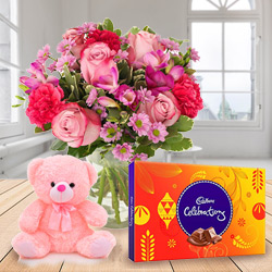 Luminous Mixed Flower Bouquet in a Vase with Cadbury Celebration with Small Teddy to Bhavnagar