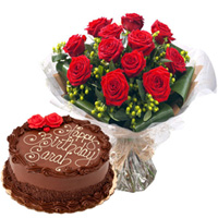Anniversary Special Surprise Combo of Red Rose Bouquet N Chocolate Cake to Ambala
