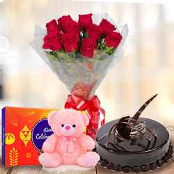 Anniversary Love Treasure Cadbury Celebration with Teddy, Chocolate Cake and Bouquet of Red Rose to Ankleshwar