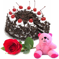 Anniversary Special Black Forest Cake with Teddy and Single Rose Combo to Ankleshwar