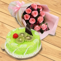 Bouquet of 10 Pink Roses with 1 kg Kiwi Cake to Barauipur