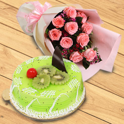 Irresistible Kiwi Cake with Dazzling Red Roses Bouquet to Trichur
