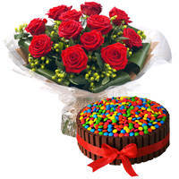 Eye-Catching Red Roses Bouquet with Kit Kat Cake to Ambur