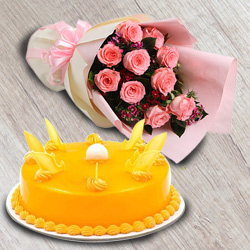Sensational Mango Flavour Cake with Red Roses Bouquet to Varanasi