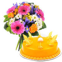 Made Fresh Mango Cake with Mixed Flowers Bouquet to Miraz