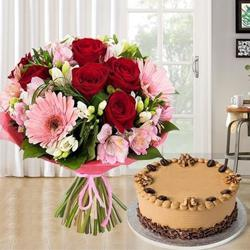 Combo of 12 Mixed Flowers Bouquet N 1 kg Coffee Cake to Baghpat