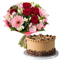 Surprising Gift of Coffee Cake with Mixed Flowers Bouquet to Varanasi