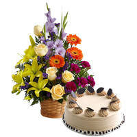 Hand-Arranged Mixed Flower with Coffee Cake to Ajmer