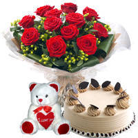 Stylish Present of Yummy Coffee Cake, Red Roses Bouquet N Teddy to Miraz