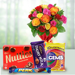 Gorgeous mixed Roses with mouth watering assorted Cadburys Chocolate to Gurgaon