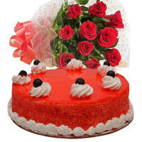 Sensational Red Roses Bouquet with Red Velvet Cake to Miraz