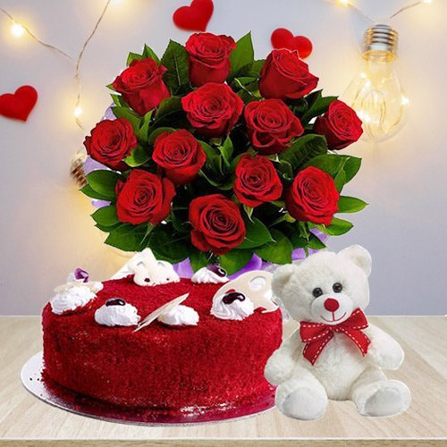 Classic Gift of Red Roses Bouquet with Red Velvet ... to Aluva