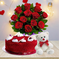Beautiful Red Roses Bouquet with Red Velvet Cake N Teddy to Ambala