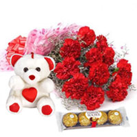 Ravishing Carnations Bouquet with Teddy N Ferreo Rocher to Anantapur