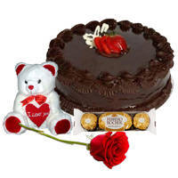 Fresh Red Rose with Chocolate Cake, Ferrero Rocher N Teddy to Bantwal
