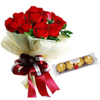 Great-Tasting Ferrero Rocher Chocolate with Red Roses Bouquet to Bangalore