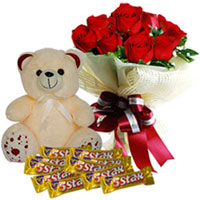 Charming Red Roses Bouquet with Cadbury 5 Star N Teddy to Anantapur