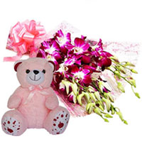 Perfect Combo of Orchids Bunch N Teddy to Bantwal