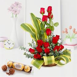 Breathtaking Arrangement of Red Roses with Ferrero Rocher to Bangalore