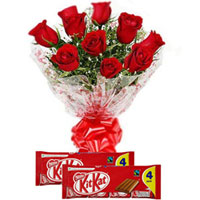 Charming Bouquet of Red Roses with Nestle Kit Kat to Amalampuram