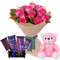 Gorgeous Combo of Pink Roses Bouquet with Assorted Cadbury Chocolates N Teddy to Manipal