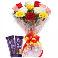 Mesmerizing Bouquet of Mixed Roses with Dairy Milk Crackle to Amalampuram