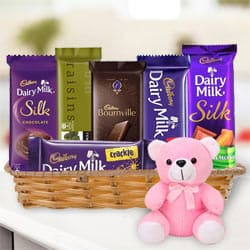 Attractive Gift Basket of Chocolates N Teddy to Barauipur