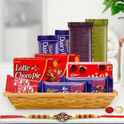 Gift Hamper of Tasty Chocolate with 1 Rakhi, Roli, Tilak and Chawal to Ajmer