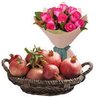Fresh-Picked Pink Roses Bouquet with Jammy Pomegranates Basket to Ambur