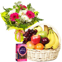 Yummy Chocolate Pack with Fruits Basket and Floral Bouquet to Ajmer
