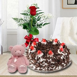 Luscious Black Forest Cake with Single Red Rose and a Small Teddy Bear to Chandigarh