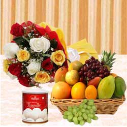 Yummy Haldirams Rasgulla and Mixed Fruits Basket with Bunch of Roses to Anantapur