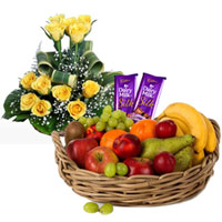 Natural Selection of Roses Arrangement with Silky Cadbury Chocolate and Mixed Fruits Basket to Ambur