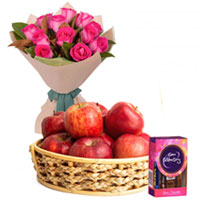 Beautiful Pink Roses Bunch with Apples Basket and Cadbury Mini Celebrations Pack to Ajmer