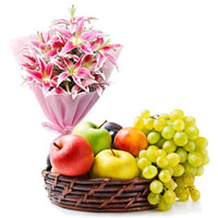 Colorful Combo of Lilies Bouquet with Fresh Fruits Baskets to Chennai