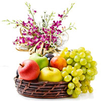 Beautiful Orchids Bouquet with Fresh Fruits Basket to Ajmer