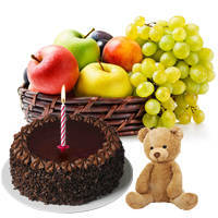 Exquisite Combo of Fruits Basket, Small Teddy with Candles and Chocolate Cake to Chennai