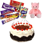 Black Forest Cake, Teddy Bear and  Chocolates to Raipur