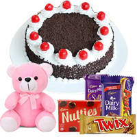 Ambroisal Black Forest Cake with attractive Teddy and toothsome Cadburys Chocolate to Cochin