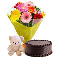 Mouth-watering Chocolate Cake with Exquisite Gerberas Bouquet and Small Teddy for Midnight Delivery to Calicut