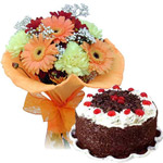 Fresh Flowers Bouquet with Black Forest Cake to Patna
