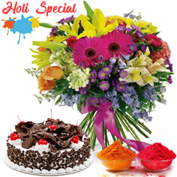 Majestic multi colored Seasonal Flowers along with tasty Black Forest Cake to Indore