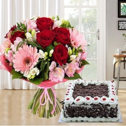 Majestic multi colored Seasonal Flowers along with tasty Black Forest Cake to Chennai